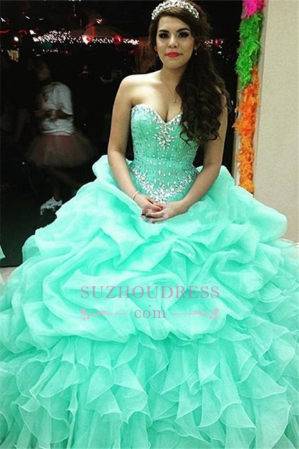 Elegant Sweetheart Lace-Up Ruffles Sweet 16 Dresses Crystal Ball Gown Quinceanera Dress