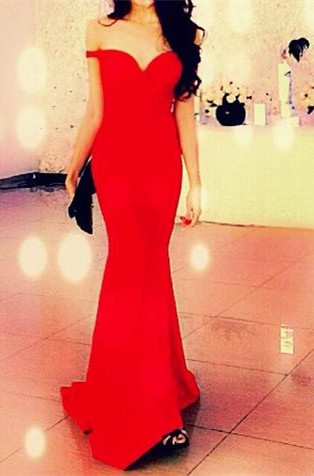 Red Off Shoulder Mermaid Long Evening Dress New Arrival  Sweep Train Prom Gown BA3726