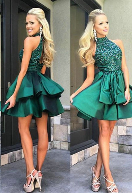 A-Line High Collar Green Cocktail Dresses Sleeveless Tiered Mini Homecoming Gowns