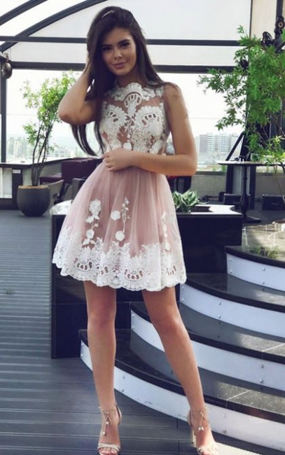 New Arrival Pink Short Homecoming Dresses Sleeveless Appliques Cocktail Dress