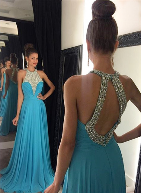 A-Line Blue Halter Chiffon Prom Dess Crystal Ruffles Open Back Formal Occasion Dresses