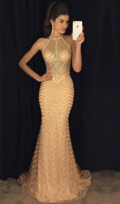 Halter Champagne Gold Sexy Prom Dresses  Sleeveless Mermaid Illusion Long Evening Gown BA8844