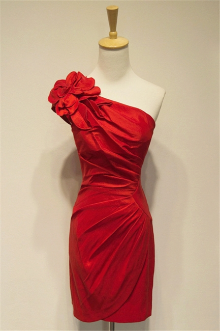 Red One-shoulder Sheath Mini Sexy Cocktail Dress Ruffle Flower Short Zipper  Bridesmaid Gowns