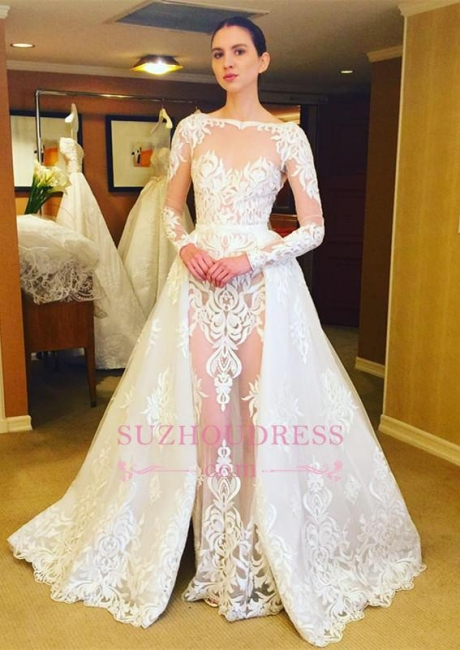 Ruffles Long Sleeves Stunning Lace Bridal Gowns  Sheer Wedding Dress