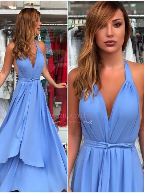 Halter Cheap Prom Dresses | Backless Sleeveless Evening Dresses