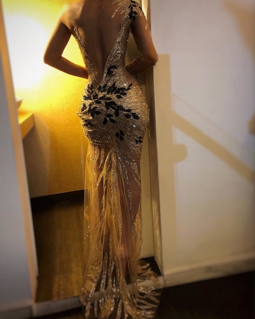 Beautiful One Shoulder V-Neck Sheath Sexy Backless Open back Floor-Length Exclusive Prom Dresses UK | New Styles