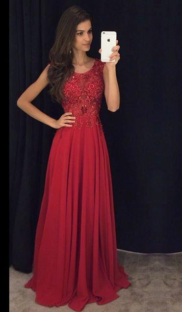 Sleeveless Chiffon Ruby Prom Dresses Beading Sequins Long Evening Dress