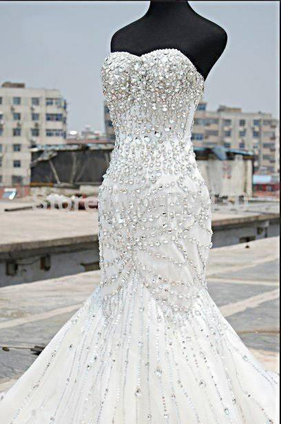 Luxury Silver Crystal Wedding Dresses  Beading Sweetheart Mermaid Sparkly Bridal Gowns