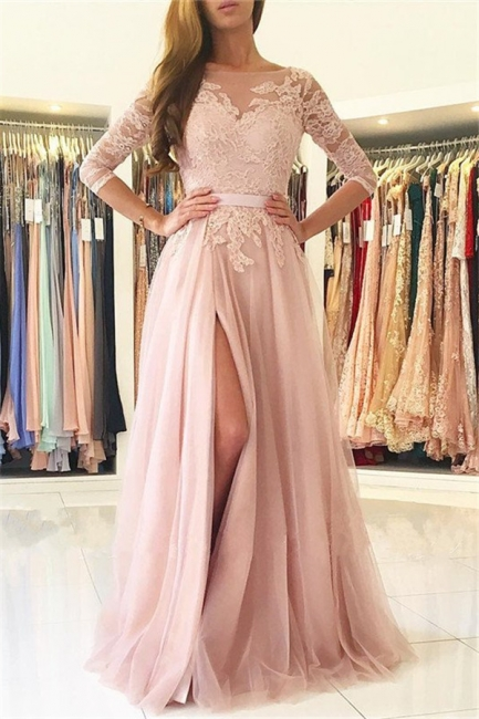 Half Sleeves Lace Appliques Pink Evening Dresses Front Split Tulle Prom Dress  BA7488