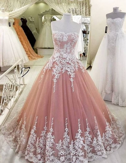 Strapless Pearl Pink Lace appliques  Evening Dresses Ball Gown Tulle Prom Gowns