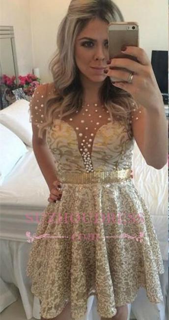 Beadings A-line Short Gold Lace Short Sleeves  Homecoming Dress BA9856