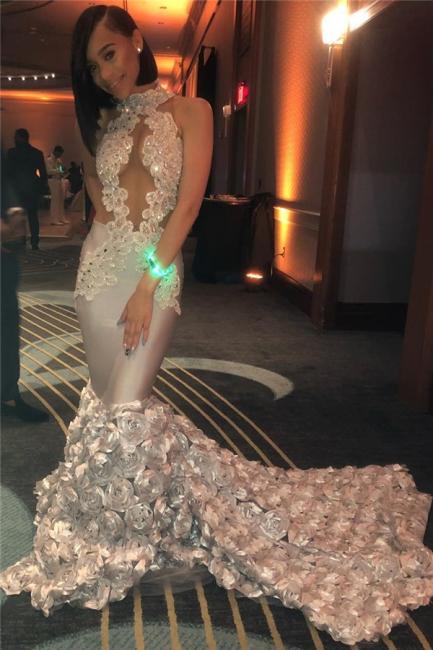 Mermaid Ruffled Flowers Sexy Sleeveless Prom Dresses 2019 | Beads Appliques Sleeveless  Graduation Dress BC1201