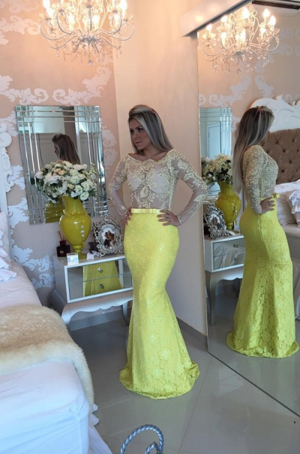 Yellow Long Sleeve Mermaid  Evening Dress Lace Beaded Prom Gown IG008 BMT128