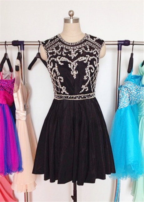 Cute Black Crystal Short Homecoming Dress New Arrival Chiffon Popular Custom Made Cocktail Dresses