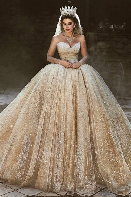 Luxury Champagne Gold Wedding Dresses  | Sequins Princess Ball Gown Royal Wedding Dresses