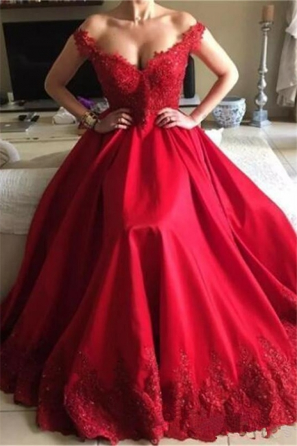 Red Off-the-Shoulder A-Line Prom Dresses  | Open Back Appliques Evening Dresses