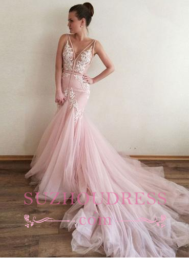 Pink V-Neck Appliques Tulle long Lace Sleeveless Mermaid Evening Dresses