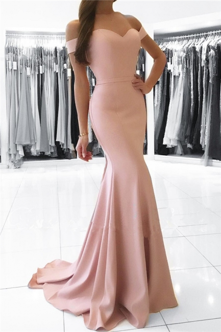 Mermaid Pink Off The Shoulder Formal Dress Simpe Elegant Long Evening Dress  FB0082