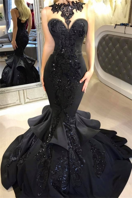 Black Mermaid Beads Prom Dresses | Appliques  Sexy Evening Dresses  FB0267