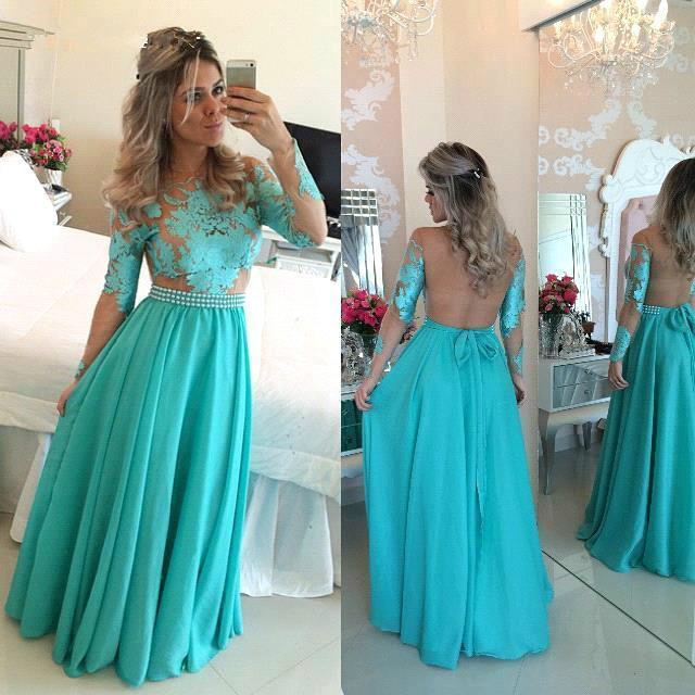 A-line Long Sleeve Chiffon Green Evening Dress Latest Lace Applique Open Back Prom Dress BO9348