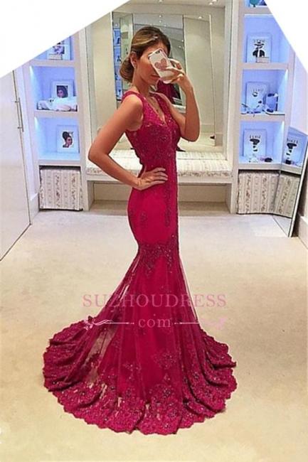 Appliques Glamorous Sleeveless Mermaid Evening Gowns  V-Neck  Prom Dresses