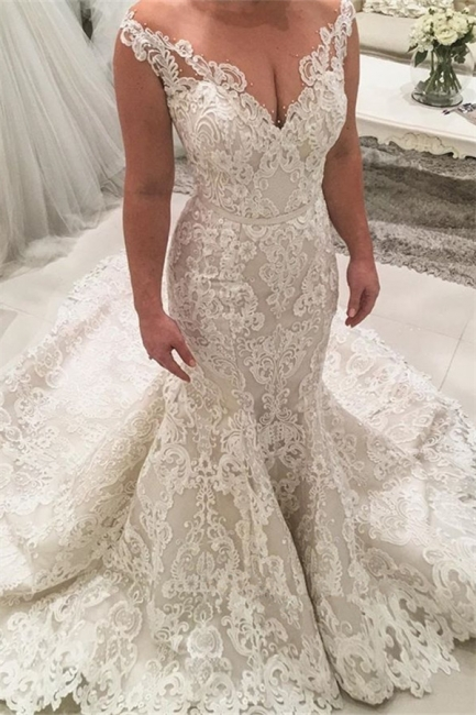 Chic Appliques Wedding Dresses with Long Train Mermaid Lace Bridal Gowns On Sale