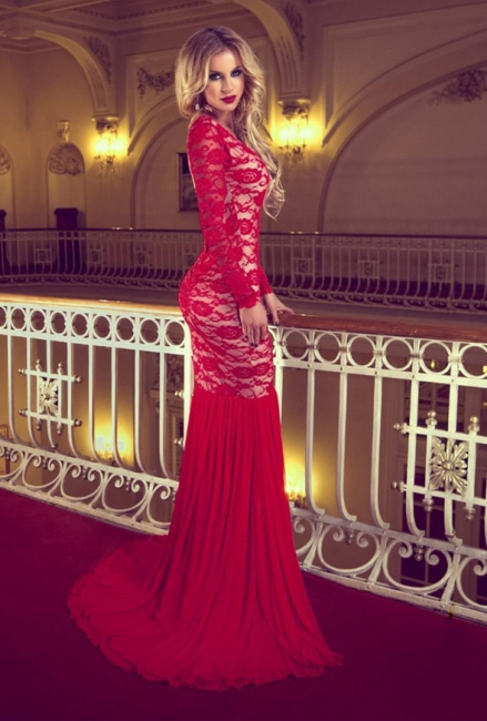 Sexy Red Lace Sweep Trian Evening Dress Mermaid Long Sleeve Backless Prom Dress