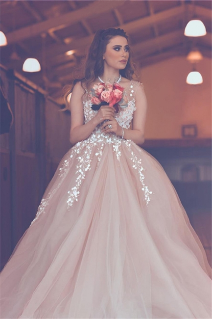Elegant Pink Tulle A-Line Prom Dresses  Sleeveless Appliques Evening Gowns