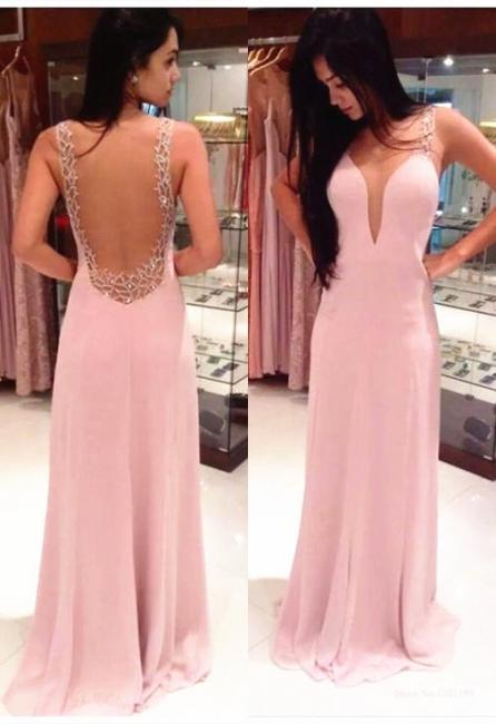 New Dresign Sexy Pink  Prom Dress Chiffon Backless Beading Evening Dress