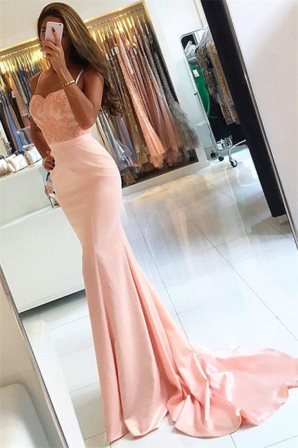 Newest Sleeveless Lace Evening Dress Appliques Mermaid Spaghetti-Strap Prom Dress  BA6115