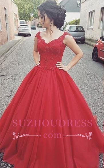 Tulle Straps Lace-up Formal Dress Lace   Modern Prom Dress BA4632
