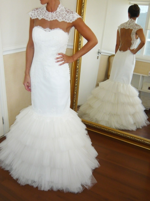 Puffy Tulle Skirt Wedding Dresses Mermaid Open Vack Lace  Bridal Gowns Tiered