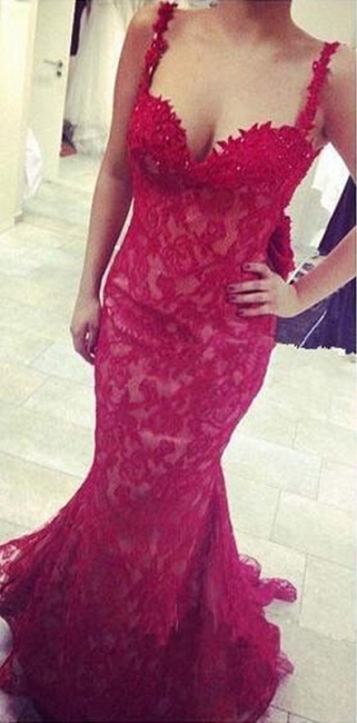 Popular Red Lace Straps Evening Dresses Mermaid Backless Sexy Prom Gowns