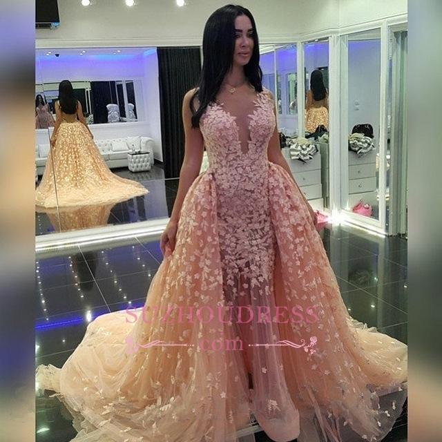 Puffy Pink Mermaid Prom Dress  Sexy Dubai Muslim Detachable-Train Evening Dresses BA6303