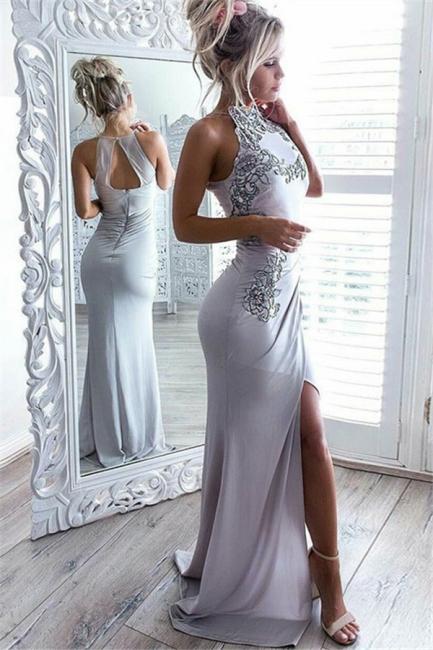 Sexy Front Slit Sleeveless Formal Dress  | Sheath Appliques Summer Party  Evening Dress AN0018