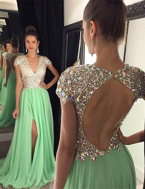 Deep V-Neck Sequins Backless Party Dress A-Line Short Sleeve Split Prom Dress GA011