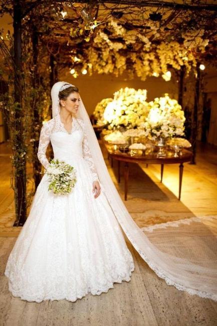 Vintage White Long Sleeve Lace Wedding Dress A-Line Vestidos De Noiva Formal Bridal Gowns