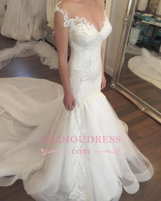 Button Mermaid mermaid Sweetheart Charming Tulle Zipper Lace Beadings Wedding Dress