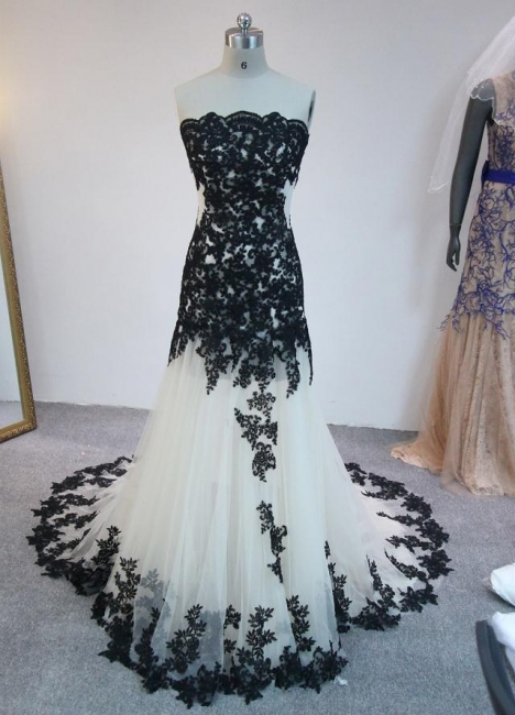 Latest Strapless Court Train Lace Prom Dress Custom Made Tulle Formal Occasion Dresses