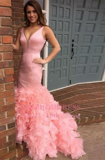 Tiered Sexy Long Mermaid Pink Sleeveless Evening Dresses