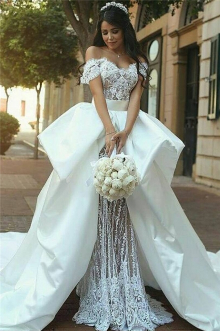 Off The Shoulder Lace Wedding Dresses  | Satin Overskirt Long Train Sexy Bridal Gowns