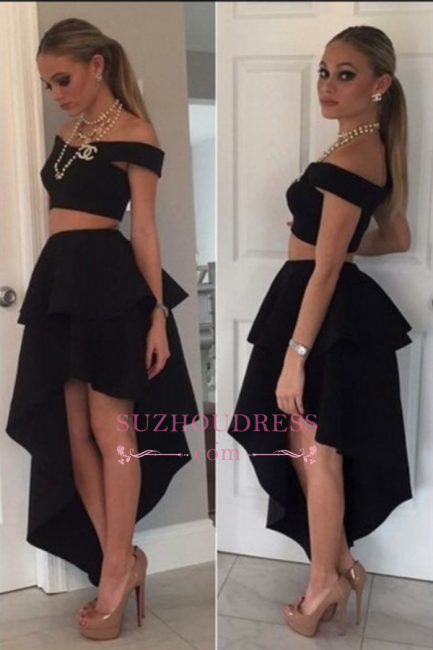 Black Off-the-shoulder Tiered  Irregular Two-Piece Homecoming Dresses BA3779