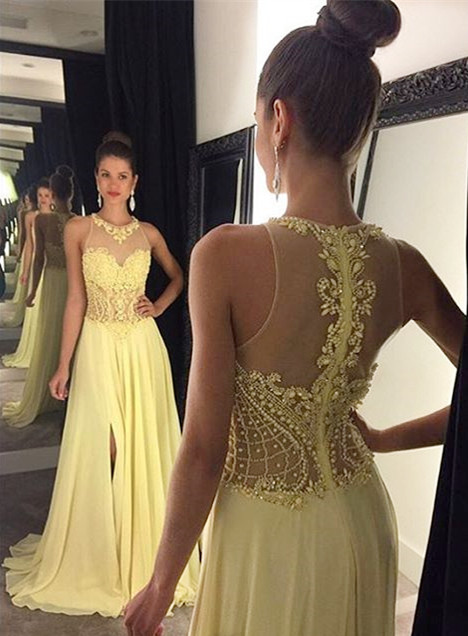 New Arrival Yellow Split Prom Dress with Beadings Latest A-Line Chiffon Evening Gowns