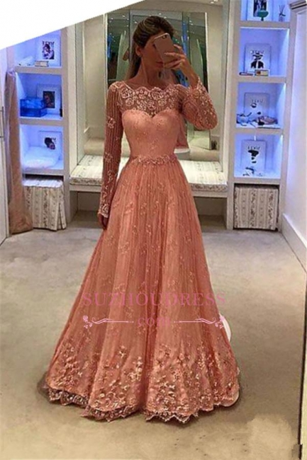 Appliques Newest Long Sleeves Lace Evening Gowns  A-Line  Prom Dress BA5376