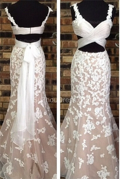 Gorgeous White Lace Prom Dresses  Straps Mermaid Floor Length Evening Gowns