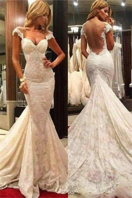Gorgeous Sheer Tulle Back Wholesale Wedding Dresses with Chapel Train Fit and Flare Lace Bridal Gowns Online