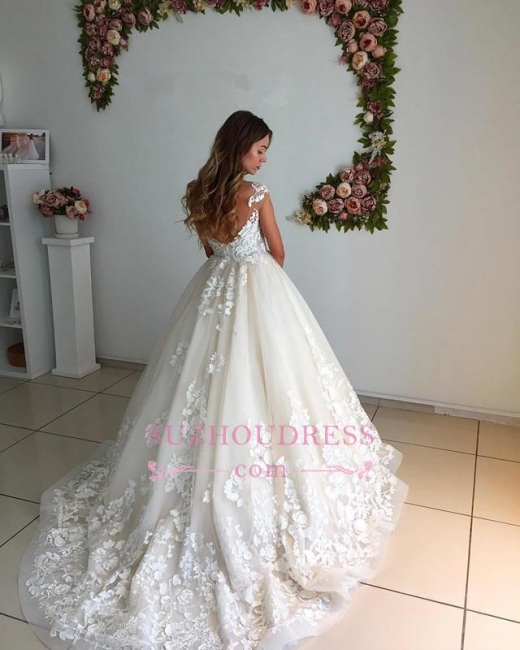 Appliques Lace Floor Length Ball Gown  Backless Court-Trian Wedding Dress