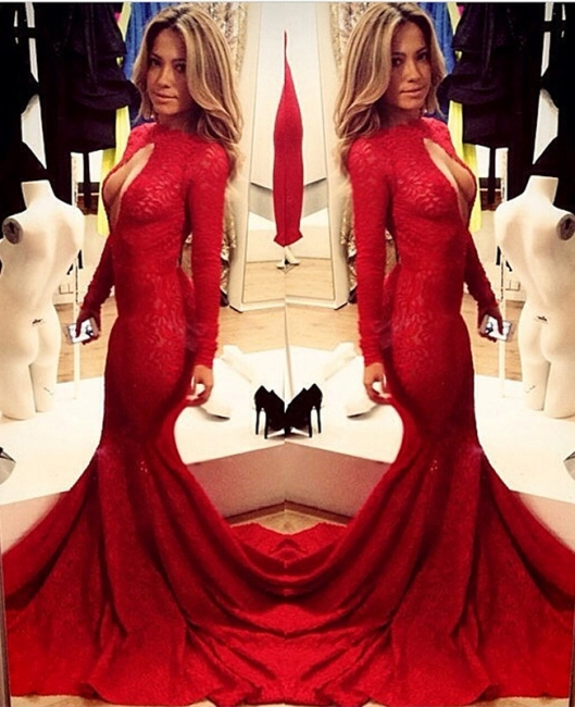 Sexy High Collar Mermaid Formal Occasion Dress Red Long Sleeve Court Train Evening Gown
