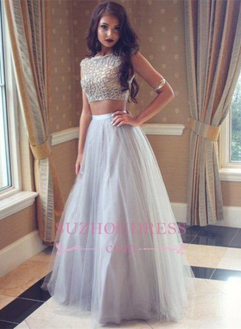 Beadings Tulle Long Beautiful Two-Pieces Prom Dress