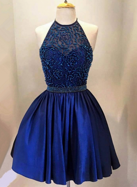 New Arrival Royal Blue Halter Short Homecoming Dress with Beadings A-Line Sleeveless Mini Cocktail Dress TB0205